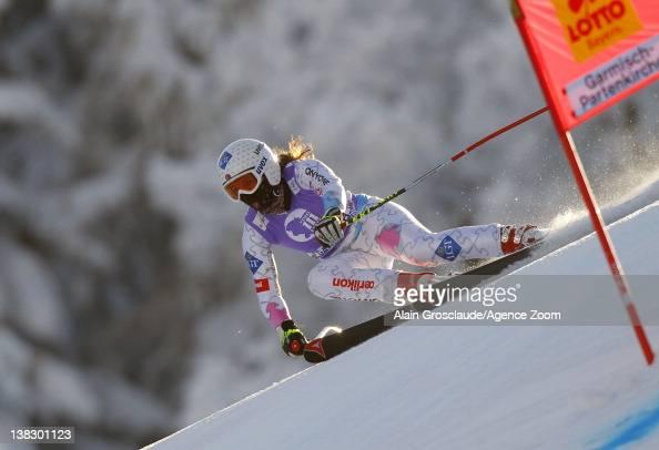 Tina Weirather of Liechtenstein takes 3rd place during the Audi FIS Alpine Ski World Cup Women's SuperG on February 5 2012 in GarmischPartenkirchen...
