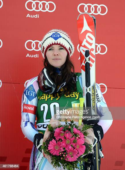 Tina Weirather of Liechtenstein takes 3rd place during the Audi FIS Alpine Ski World Cup Women's SuperG on January 19 2015 in Cortina d'Ampezzo Italy