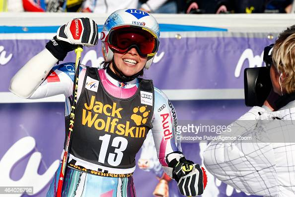 Tina Weirather of Liechtenstein takes 3rd place during the Audi FIS Alpine Ski World Cup Women's Giant Slalom on February 21 2015 in Maribor Slovenia