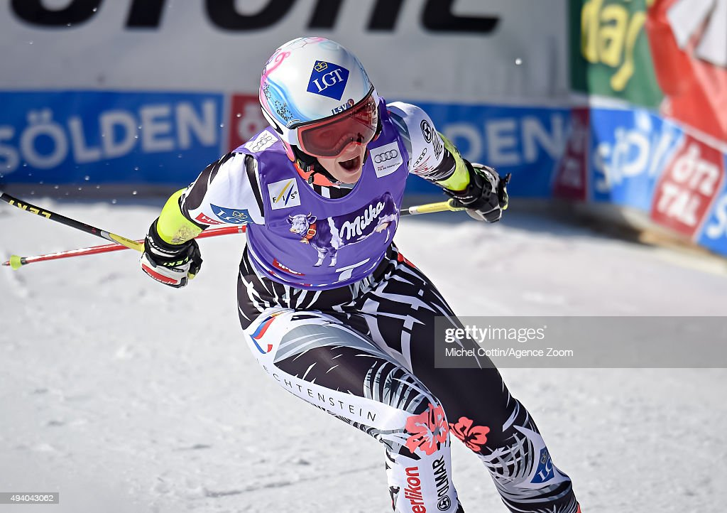Tina Weirather of Liechtenstein takes 3rd place during the Audi FIS Alpine Ski World Cup Women's Giant Slalom on October 24 2015 in Soelden Austria