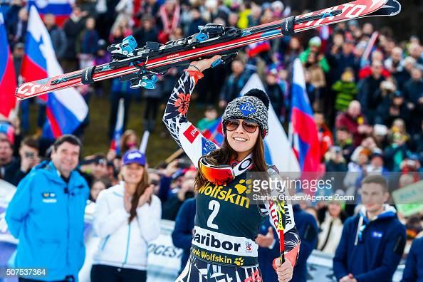 Tina Weirather of Liechtenstein takes 3rd place during the Audi FIS Alpine Ski World Cup Women's Giant Slalom on January 30 2016 in Maribor Slovenia
