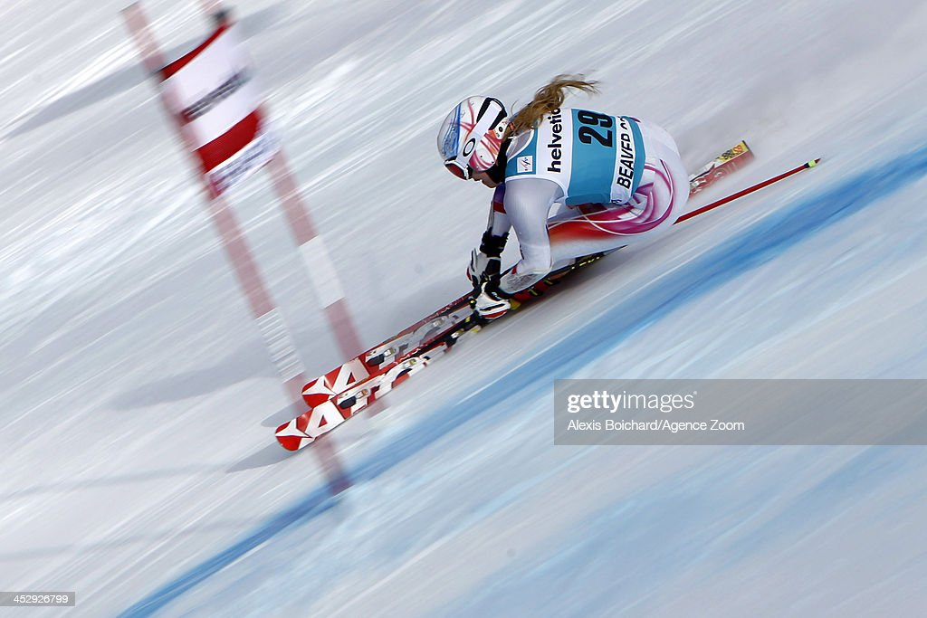 Tina Weirather of Liechtenstein takes the 3nd place during the Audi FIS Alpine Ski World Cup Women's Giant Slalom on December 01 2013 in Beaver Creek...