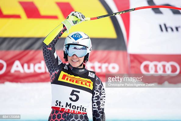 Tina Weirather of Liechtenstein wins the silver medal during the FIS Alpine Ski World Championships Women's SuperG on February 07 2017 in St Moritz...