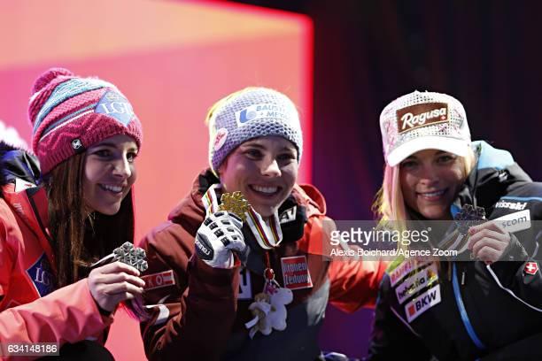 Tina Weirather of Liechtenstein wins the silver medal Nicole Schmidhofer of Austria wins the gold medal Lara Gut of Switzerland wins the bronze medal...