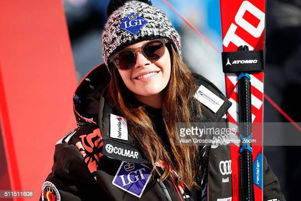 Tina Weirather of Liechtensten takes 1st place during the Audi FIS Alpine Ski World Cup Women's SuperG on February 21 2016 in La Thuile Italy