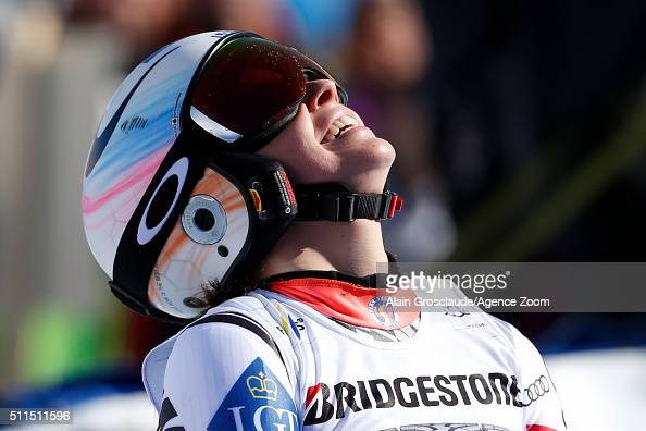 Tina Weirather takes 1st place during the Audi FIS Alpine Ski World Cup Women's SuperG on February 21 2016 in La Thuile Italy