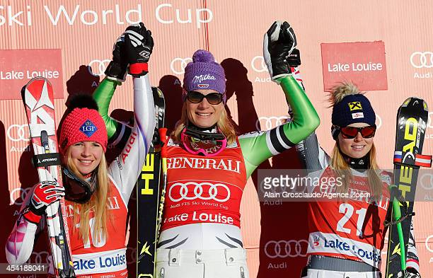 Tina Wierather of Lichtenstein Maria HoeflRiesch of Germany and Anna Fenninger of Austria pose on the podium during the Audi FIS Alpine Ski World Cup...