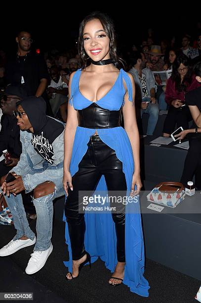 Tinashe attends the Jeremy Scott fashion show during New York Fashion Week The Shows at The Arc Skylight at Moynihan Station on September 12 2016 in...