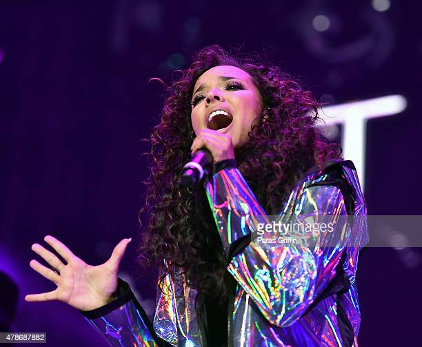 Tinashe performs in oncert during the 2015 BET Experience at Staples Center on June 26 2015 in Los Angeles California