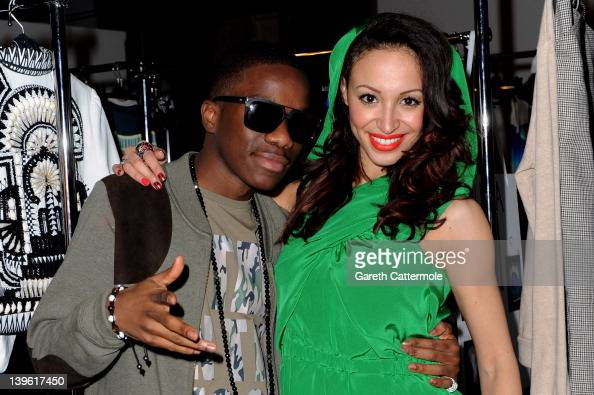 Tinchy Stryder and Amelle Berrabah pose backstage at the launch of Vodafone London Fashion Weekend at Somerset house on February 23 2012 in London...