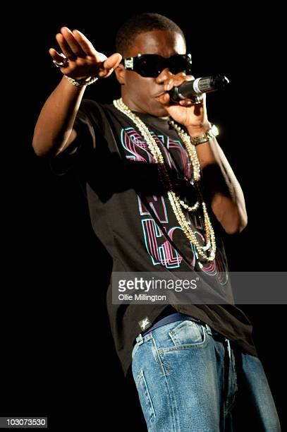 Tinchy Stryder performs on the mainstage at Devonshire Green during the second day of Tramlines Festival on July 24 2010 in Sheffield England