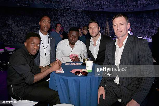 Tinchy Stryder Simon Webbe guest Anthony Costa and Chris Sutton at the inaugural Facebook Football Awards on May 26 2015 in London England