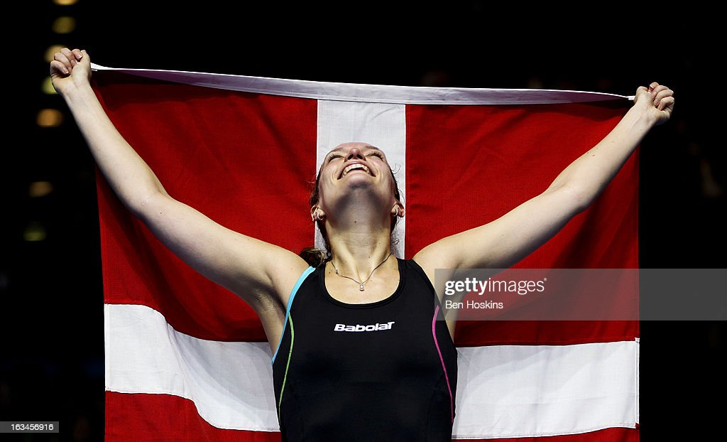 Tine Baun of Denmark celebrates after defeating Intanon Ratchanok of Thailand in the final of the women's singles during Day 6 of the Yonex All England Badminton Open at NIA Arena on March 10, 2013 in Birmingham, England.