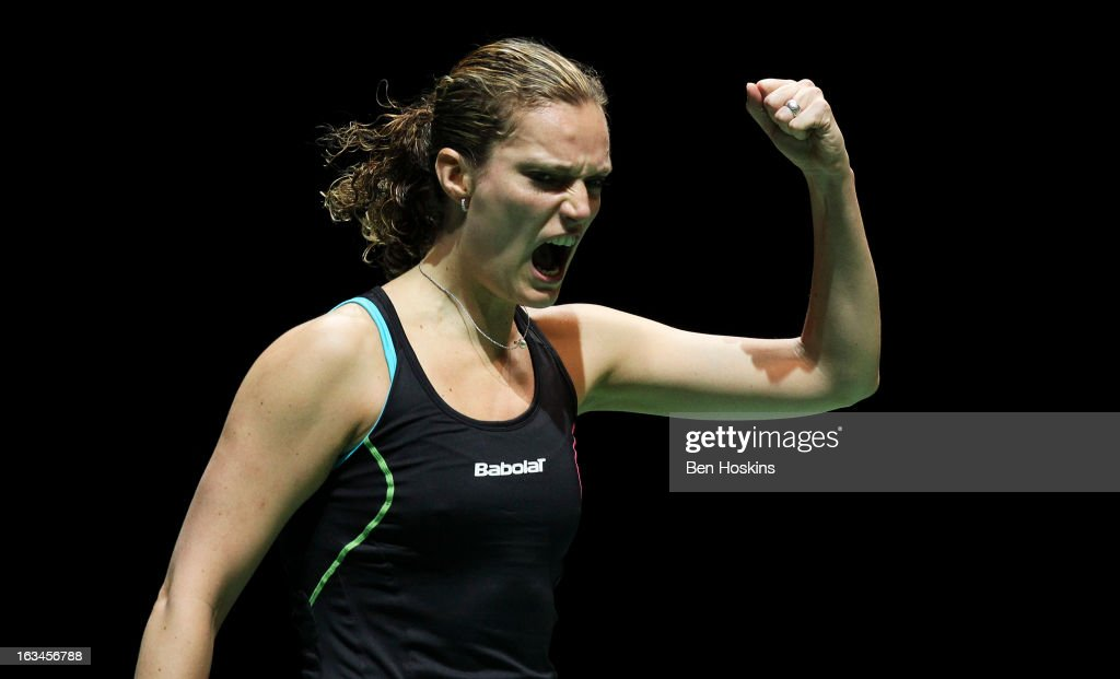 Tine Baun of Denmark celebrates during Day 6 of the Yonex All England Badminton Open at NIA Arena on March 10, 2013 in Birmingham, England.
