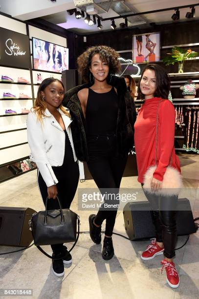 Tinea Taylor Yasmin Evans and Sinead Harnett attend the Puma x Sophia Webster collection press launch on September 5 2017 in London England