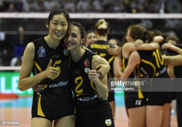 Ting Zhu and Kelsey Marie Robinson of VakifBank Istanbul celebrate their first place after the Volleyball European Champions League Women Final Four...