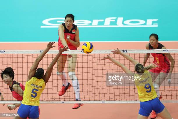 Ting Zhu of China in action during the match between China and Brazil during Day 1 of 2017 Nanjing FIVB World Grand Prix Finals on August 2 2017 in...