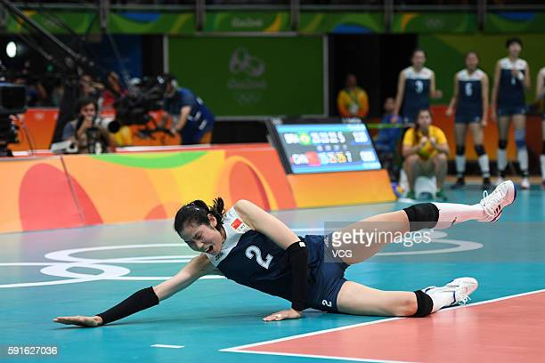 Ting Zhu of China in action during the Women's Quarterfinal match between China and Brazil on day 11 of the Rio 2106 Olympic Games at the...
