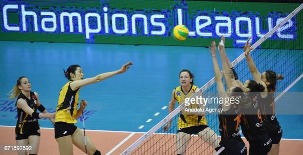 Ting Zhu of VakifBank Istanbul in action during the Volleyball European Champions League Women Final Four between VakifBank Istanbul and Eczacibasi...