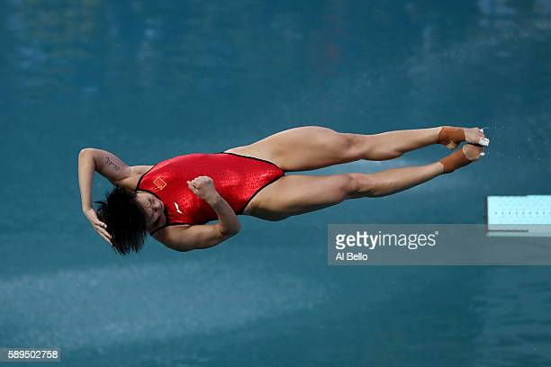 Tingmao Shi of China competes in the Women's Diving 3m Springboard Final on Day 9 of the Rio 2016 Olympic Games at Maria Lenk Aquatics Centre on...