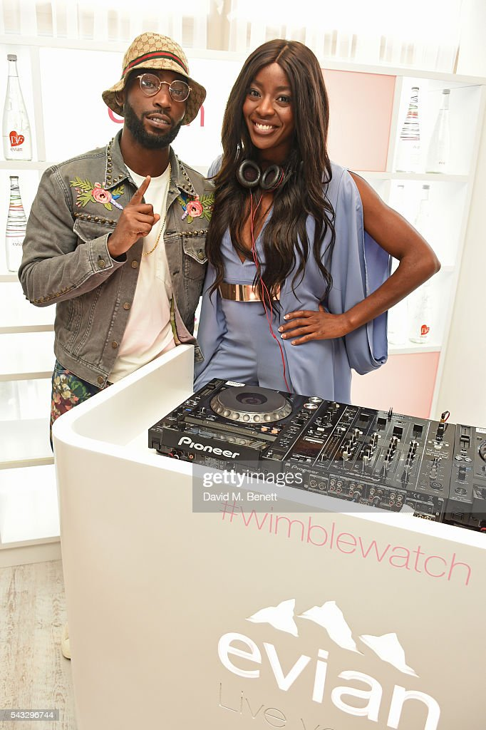 <a gi-track='captionPersonalityLinkClicked' href=/galleries/search?phrase=Tinie+Tempah&family=editorial&specificpeople=6742538 ng-click='$event.stopPropagation()'>Tinie Tempah</a> (L) and AJ Odudu attend the evian Live Young suite during Wimbledon 2016 at the All England Tennis and Croquet Club on June 27, 2016 in London, England.