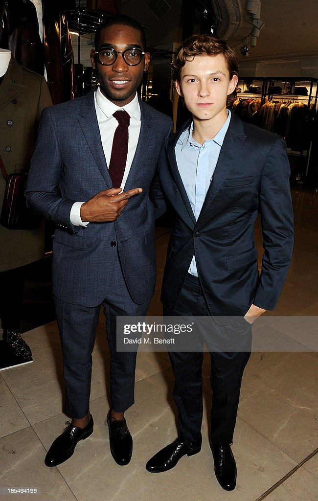 Tinie Tempah (L) and Breakthrough Brit Tom Holland attend the BAFTA 'Breakthrough Brits' event at Burberry 121 Regent Street, London on October 21, 2013 in London, United Kingdom.