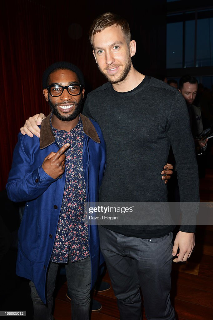 Tinie Tempah and Calvin Harris attend a listening party for Daft Punk's new album 'Random Access Memories' at The Shard on May 13, 2013 in London, England.