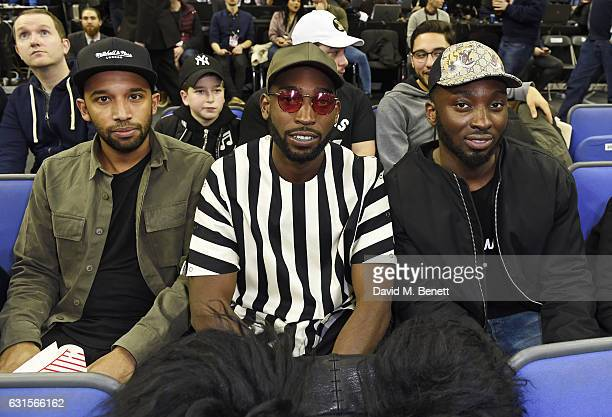 Tinie Tempah and guests sits courtside at the NBA Global Game London 2017 basketball game between the Indiana Pacers and Denver Nuggets at The O2...