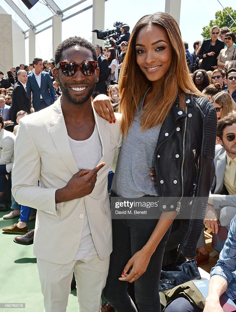 <a gi-track='captionPersonalityLinkClicked' href=/galleries/search?phrase=Tinie+Tempah&family=editorial&specificpeople=6742538 ng-click='$event.stopPropagation()'>Tinie Tempah</a> (L) and <a gi-track='captionPersonalityLinkClicked' href=/galleries/search?phrase=Jourdan+Dunn&family=editorial&specificpeople=4347612 ng-click='$event.stopPropagation()'>Jourdan Dunn</a> attend the front row at Burberry Prorsum SS15 during London Collections: Men at Kensington Gardens on June 17, 2014 in London, England.