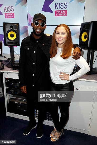 Tinie Tempah and Katy B Visit Alex at Kiss Fresh on October 14 2015 in London England
