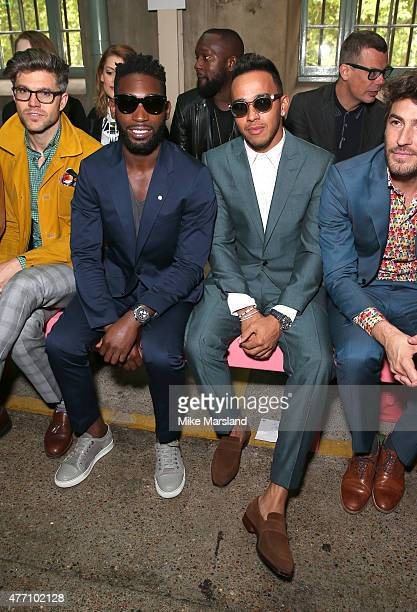 Tinie Tempah and Lewis Hamilton attend the Richard James show during The London Collections Men SS16 on June 14 2015 in London England