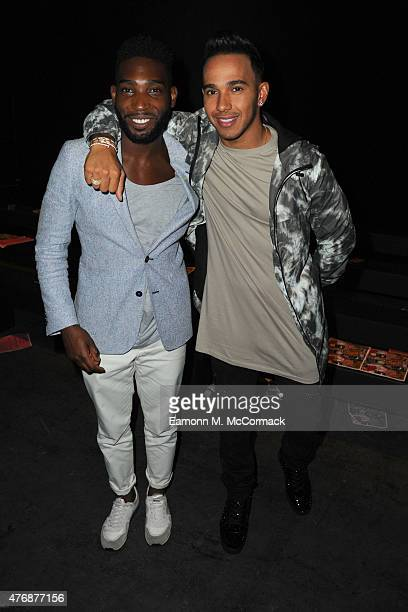Tinie Tempah and Lewis Hamilton front row at the Topman Design show during The London Collections Men SS16 at The Old Sorting Office on June 12 2015...