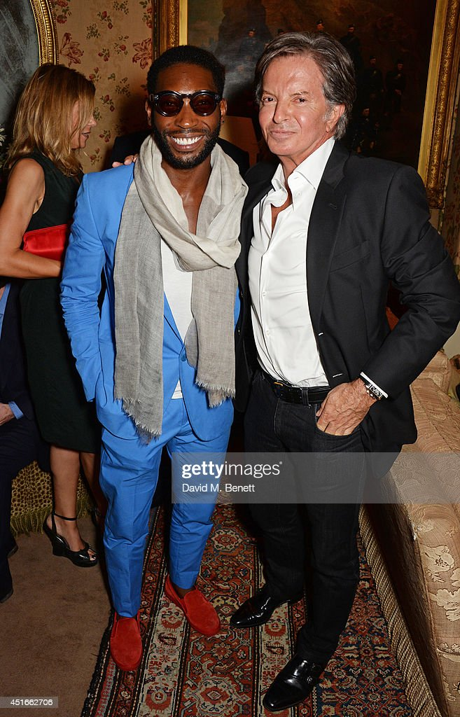 <a gi-track='captionPersonalityLinkClicked' href=/galleries/search?phrase=Tinie+Tempah&family=editorial&specificpeople=6742538 ng-click='$event.stopPropagation()'>Tinie Tempah</a> (L) and Richard Caring attend Tracey Emin's birthday party at Mark's Club on July 3, 2014 in London, England.
