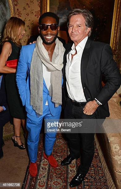 Tinie Tempah and Richard Caring attend Tracey Emin's birthday party at Mark's Club on July 3 2014 in London England