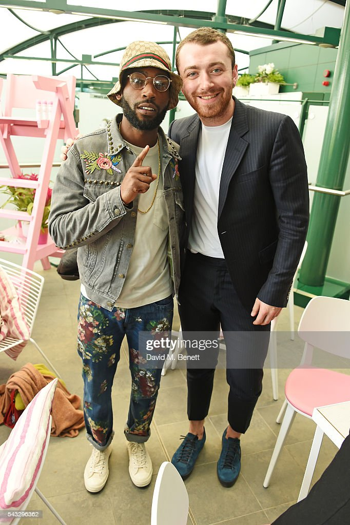 <a gi-track='captionPersonalityLinkClicked' href=/galleries/search?phrase=Tinie+Tempah&family=editorial&specificpeople=6742538 ng-click='$event.stopPropagation()'>Tinie Tempah</a> (L) and Sam Smith attend the evian Live Young suite during Wimbledon 2016 at the All England Tennis and Croquet Club on June 27, 2016 in London, England.