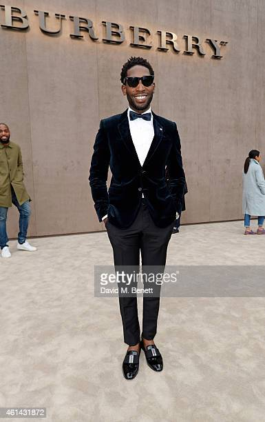 Tinie Tempah arrives at Burberry Prorsum AW15 London Collections Men at Kensington Gardens on January 12 2015 in London England