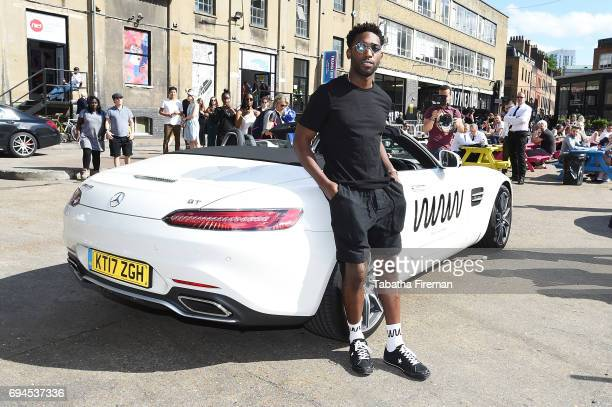 Tinie Tempah arrives by MercedesBenz at his 'What We Wear' label fashion week presentation at Old Truman Brewery on June 10 2017 in London England