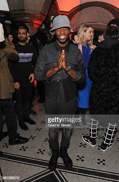 Tinie Tempah attends as Harvey Nichols and Dazed present the Haculla x Trapstar presentation during London Collections Men AW15 at Central Saint...