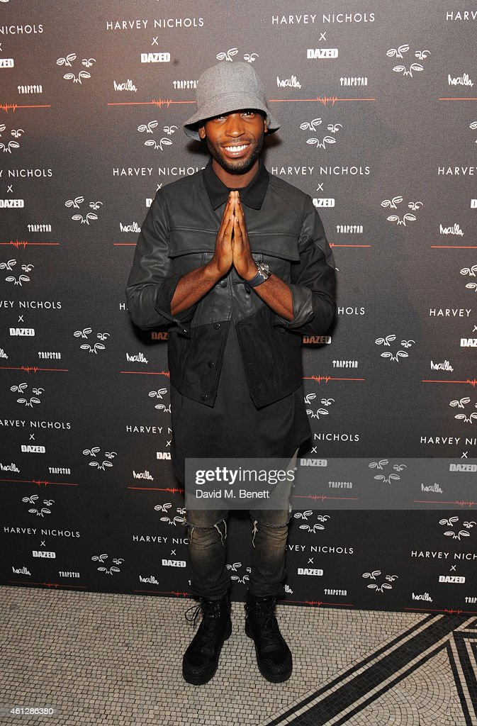 <a gi-track='captionPersonalityLinkClicked' href=/galleries/search?phrase=Tinie+Tempah&family=editorial&specificpeople=6742538 ng-click='$event.stopPropagation()'>Tinie Tempah</a> attends as Harvey Nichols and Dazed present the Haculla x Trapstar presentation during London Collections: Men AW15 at Central Saint Martins on January 10, 2015 in London, England.