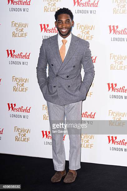 LONDON ENGLAND NOVEMBER 27 Tinie Tempah attends the Fashion For Relief Pop Up launch party at Westfield shopping centre on November 27 2014 in London...