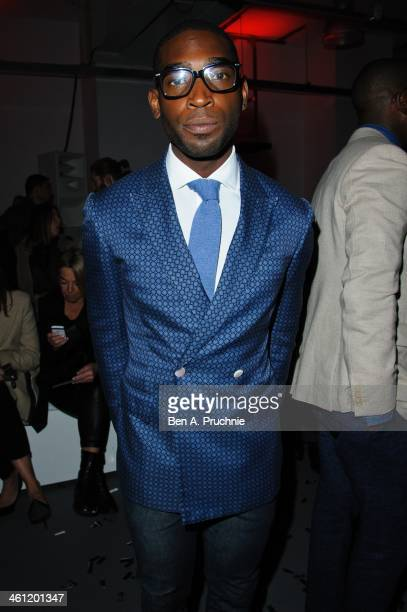 Tinie Tempah attends the RAKE catwalk show during The London Collections Men Autumn/Winter 2014 at The Old Sorting Office on January 6 2014 in London...