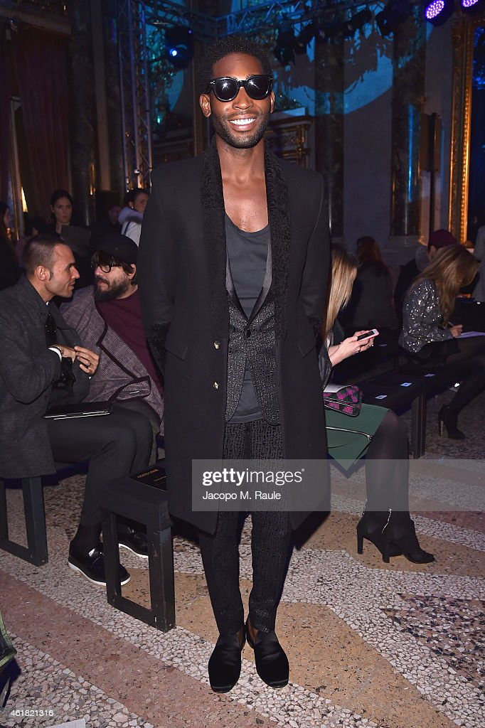 <a gi-track='captionPersonalityLinkClicked' href=/galleries/search?phrase=Tinie+Tempah&family=editorial&specificpeople=6742538 ng-click='$event.stopPropagation()'>Tinie Tempah</a> attends the Roberto Cavalli show as a part of Milan Menswear Fashion Week Fall Winter 2015/2016 on January 20, 2015 in Milan, Italy.