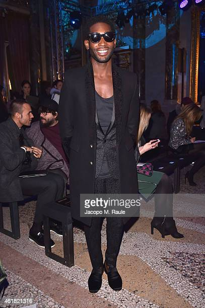 Tinie Tempah attends the Roberto Cavalli show as a part of Milan Menswear Fashion Week Fall Winter 2015/2016 on January 20 2015 in Milan Italy