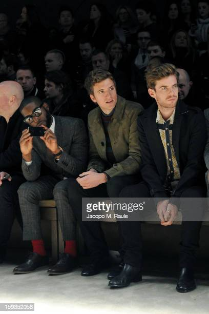 Tinie Tempah Greg James and Harry Treadaway attend Burberry and Tinie Tempah Prorsum show as part of Milan Fashion Week Menswear Autumn/Winter 2013...