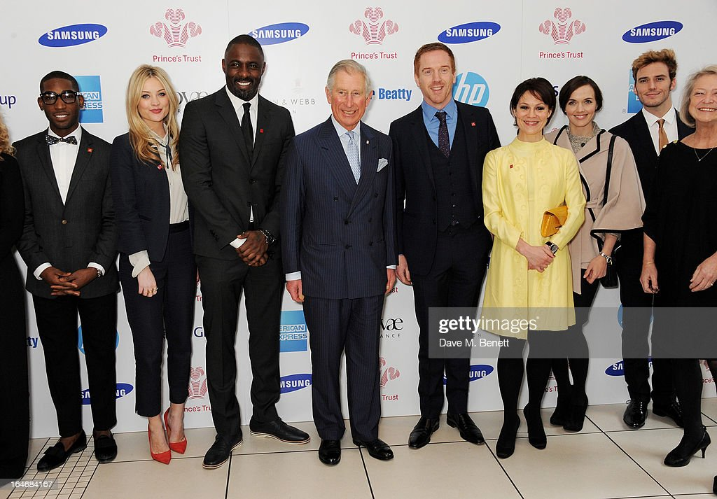 Tinie Tempah, Laura Whitmore, Idris Elba, HRH Prince Charles, Prince of Wales, Damian Lewis, Helen McCrory, Victoria Pendleton, Sam Claflin and Kate Adie attend The Prince's Trust & Samsung Celebrate Success Awards at Odeon Leicester Square on March 26, 2013 in London, England.