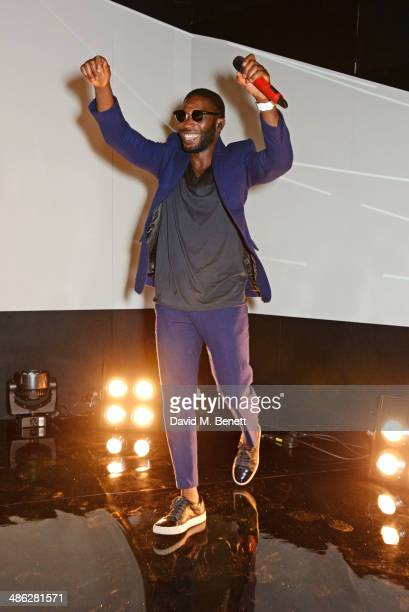 Tinie Tempah performs at the Audemars Piguet Royal Oak Offshore 42mm Party at Victoria House on April 23 2014 in London England