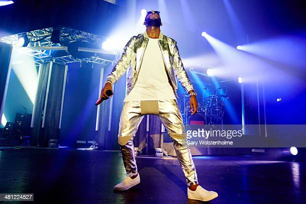 Tinie Tempah performs on stage at Manchester Apollo on March 28 2014 in Manchester United Kingdom