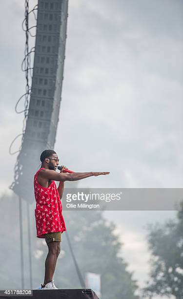 Tinie Tempah performs on stage at the Wireless Festival Birmingham at Perry Park on July 6 2014 in Birmingham United Kingdom