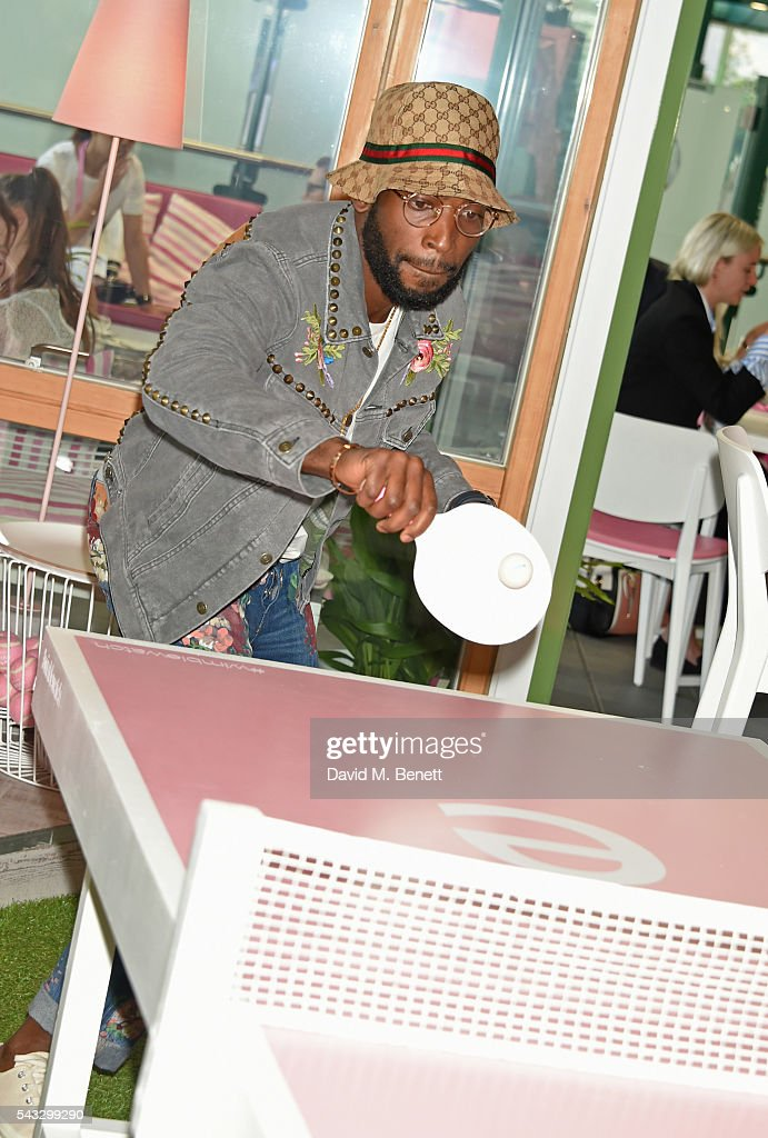 <a gi-track='captionPersonalityLinkClicked' href=/galleries/search?phrase=Tinie+Tempah&family=editorial&specificpeople=6742538 ng-click='$event.stopPropagation()'>Tinie Tempah</a> plays ping pong in the evian Live Young suite during Wimbledon 2016 at the All England Tennis and Croquet Club on June 27, 2016 in London, England.
