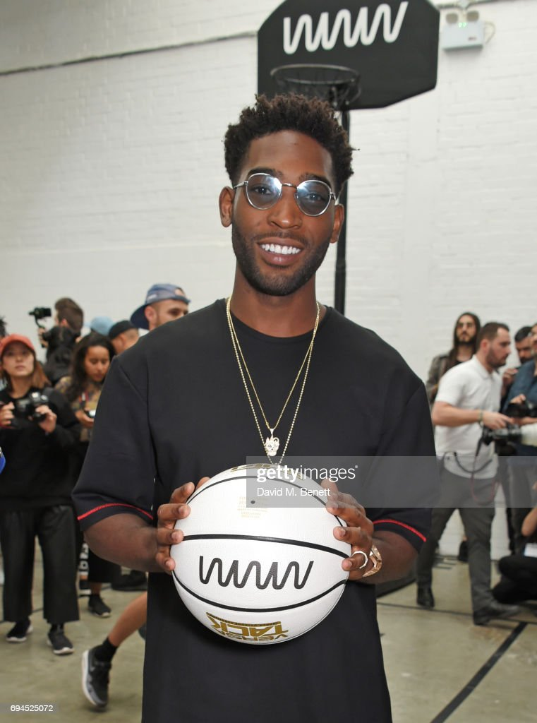 Tinie Tempah poses at his What We Wear presentation during London Fashion Week Men's June 2017 at The Old Truman Brewery on June 10, 2017 in London, England.
